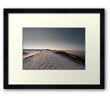 snow covered golf course at night Framed Print