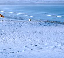 snow covered links golf course by morrbyte