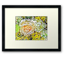 Peach Kissed White Rose with Herb and Flower Accents Framed Print