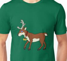 Red Reindeer with Gold Christmas Jingle Bells Unisex T-Shirt