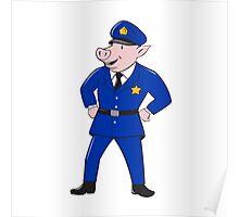 Policeman Pig Sheriff Cartoon Poster
