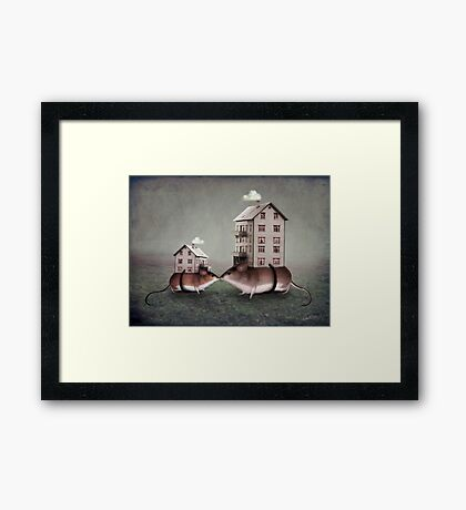Your place or mine? Framed Print