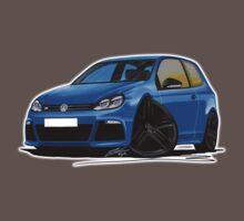 VW Golf R Blue (Black Wheels) One Piece - Short Sleeve