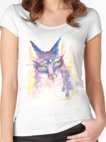 Purple Forest Fox Watercolor  Women's Fitted Scoop T-Shirt