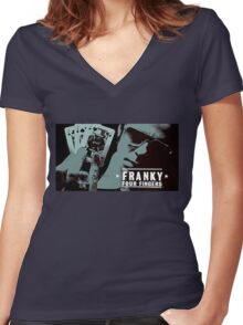 Franky Four Fingers Women's Fitted V-Neck T-Shirt