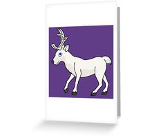 White Reindeer with Antlers Greeting Card