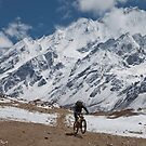 Mountain biking, Langtang region, Nepal by John Spies