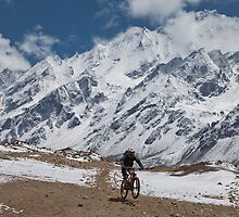 Mountain biking, Langtang region, Nepal by John Spies