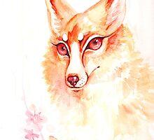Golden Flower Fox Watercolor by BasilFox