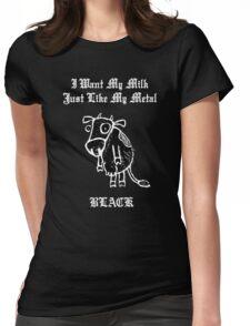Black Metal Milk Womens Fitted T-Shirt