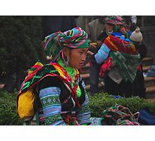 H'mong woman taking a break after a hard day selling her trinkets Photographic Print