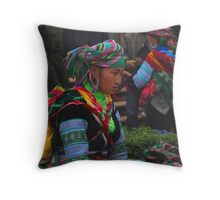 H'mong woman taking a break after a hard day selling her trinkets Throw Pillow