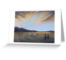 """""""Bavaria Inspired by Dixon.  Enjoying Fading Light on Frozen Lake Staffel"""" (Image of an Oil Painting) Greeting Card"""
