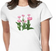 Circle of Pink Tulips Womens Fitted T-Shirt