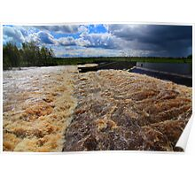 May Spate, River Tees, Broken Scar Weir, North England Poster