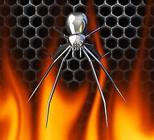Chrome Black Widow and fire Design 2 by Skatersollie