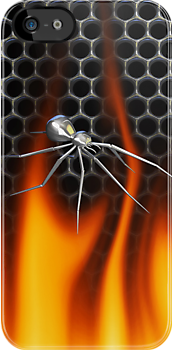 Chrome Black Widow and fire Design 4 by Skatersollie