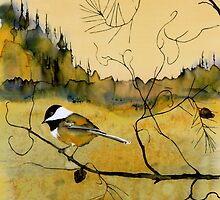 Chickadee In Dancing Pine by carolyndoe