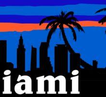 Miami Florida palm trees, skyline silhouette Sticker
