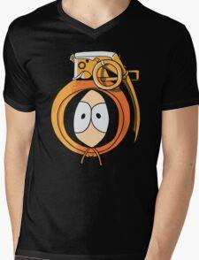 Combustible Orange Mens V-Neck T-Shirt