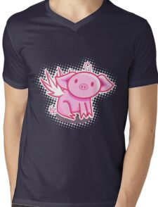 Flying pig Mens V-Neck T-Shirt