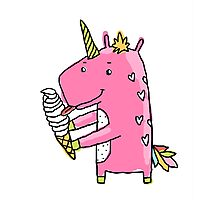 Unicorn and ice cream Photographic Print