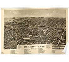 Panoramic Maps Denison Texas Grayson County 1886 Poster
