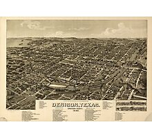 Panoramic Maps Denison Texas Grayson County 1886 Photographic Print