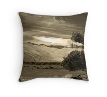 Mooo-dy Landscape in Sepia  Throw Pillow