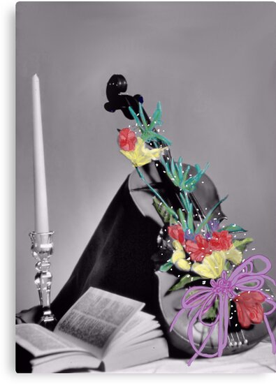 Violin Still Life with Selective Coloring  by Rosalie Scanlon