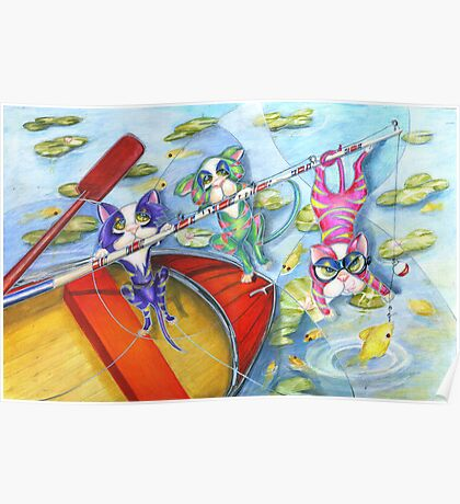 Bait and Switch, Cats Fishing, by Alma Lee Poster