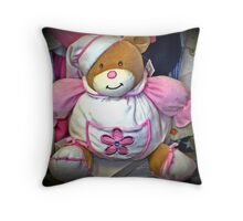 Teddy dressed in pink Throw Pillow