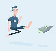 Kung Fu Guy kicks a PC by rocioalb