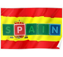 spain and flag in toy block letters Poster