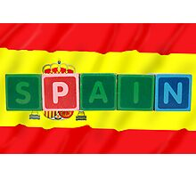 spain and flag in toy block letters Photographic Print