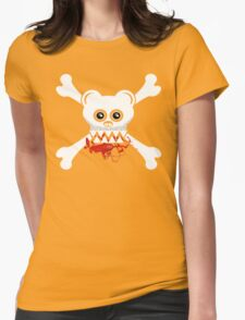 BEAR SKULL AND CROSSBONES Womens Fitted T-Shirt