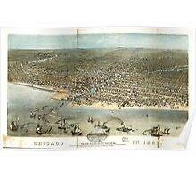 Panoramic Maps Chicago in 1868 from Schiller Street north side to 12th Street south side Poster