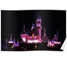 Disney Castle at Night Poster