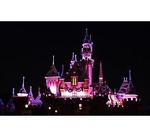 Disney Castle at Night Photographic Print