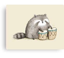 Raccoon on Bongos Canvas Print