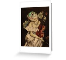 Seated Fish With Violin Greeting Card