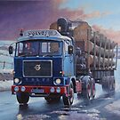Volvo F88 on round timber. by Mike Jeffries