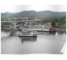 Southern Belle and Delta Queen At Walnut Street Bridge Poster