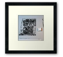Arbre au carré - Tree in the square + linocut  Framed Print