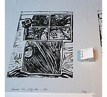 Arbre au carré - Tree in the square + linocut  Photographic Print