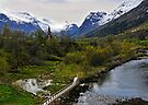 View up river to the new church, Olden, Norway by David Carton