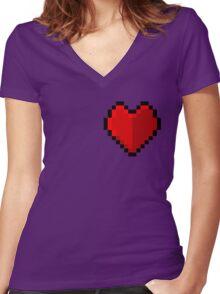 Pixel heart - I love retro Women's Fitted V-Neck T-Shirt