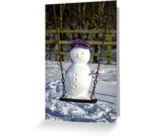 Swinging Snowman Greeting Card