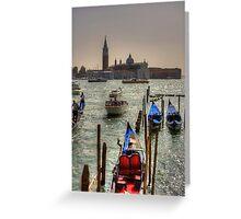 Gondolas in front of San Giorgio Maggiore Greeting Card