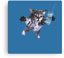 Funny grunge cat. Music band  Canvas Print